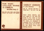 1967 Philadelphia #161  Charley Johnson  Back Thumbnail