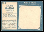1961 Topps #158  Archie Matsos  Back Thumbnail