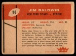 1960 Fleer #30  Jim Baldwin  Back Thumbnail