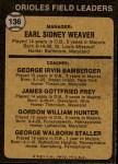 1973 Topps #136 ORG  -  Earl Weaver / George Bamberger / Jim Frey / Billy Hunter / George Staller Orioles Leaders Back Thumbnail