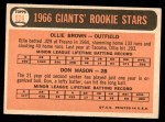 1966 Topps #524   -  Ollie Brown / Don Mason Giants Rookies Back Thumbnail