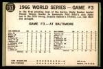1967 Topps #153 xL  -  Paul Blair 1966 World Series - Game #3 - Blair's Homer Defeats L.A. Back Thumbnail