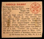 1950 Bowman #235 CPR Tookie Gilbert  Back Thumbnail