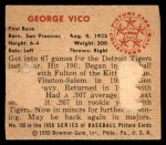 1950 Bowman #150  George Vico  Back Thumbnail