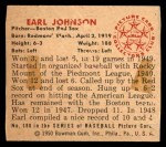 1950 Bowman #188 CPR Earl Johnson  Back Thumbnail