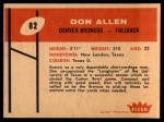 1960 Fleer #82  Don Allen  Back Thumbnail