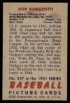 1951 Bowman #247  Bob Ramazzotti  Back Thumbnail
