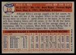 1957 Topps #10  Willie Mays  Back Thumbnail
