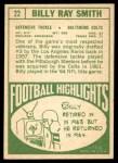 1968 Topps #22  Billy Ray Smith  Back Thumbnail