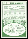 1968 Topps #72  Jim Nance  Back Thumbnail
