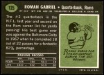 1969 Topps #125  Roman Gabriel  Back Thumbnail
