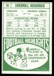 1968 Topps #96  Sherrill Headrick  Back Thumbnail
