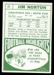 1968 Topps #41  Jim Norton  Back Thumbnail