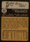 1973 Topps #567  Bob Fenwick  Back Thumbnail
