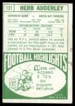 1968 Topps #131  Herb Adderley  Back Thumbnail