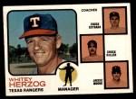 1973 Topps #549   -  Whitey Herzog / Chuck Estrada /  Chuck Hiller / Jackie Moore Rangers Leaders Front Thumbnail