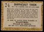 1958 Topps TV Westerns #24   Difficult Task  Back Thumbnail