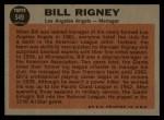 1962 Topps #549  Bill Rigney  Back Thumbnail