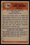 1955 Bowman #56  John Hoffman  Back Thumbnail