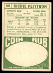1968 Topps #101  Richie Petitbon  Back Thumbnail