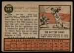 1962 Topps #145 NRM Barry Latman  Back Thumbnail