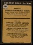1973 Topps #549   -  Whitey Herzog / Chuck Estrada /  Chuck Hiller / Jackie Moore Rangers Leaders Back Thumbnail