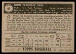 1952 Topps #49 COR Johnny Sain  Back Thumbnail