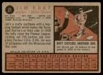 1962 Topps #21  Jim Kaat  Back Thumbnail