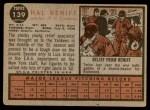 1962 Topps #139 GRN Hal Reniff  Back Thumbnail
