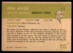 1961 Fleer #132  Don Joyce  Back Thumbnail