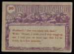 1959 Topps / Bubbles Inc You'll Die Laughing #20   Fanged dentures in glass Back Thumbnail