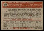 1952 Topps #247  Randy Gumpert  Back Thumbnail