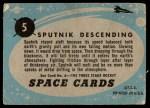 1957 Topps Space Cards #5   Sputnik Descending  Back Thumbnail