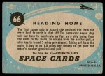 1957 Topps Space Cards #66   Heading Home  Back Thumbnail
