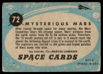 1957 Topps Space Cards #72   Mysterious Mars Back Thumbnail