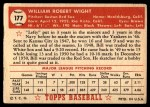 1952 Topps #177 CRM Bill Wight  Back Thumbnail