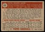 1952 Topps #292  Floyd Baker  Back Thumbnail
