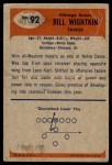 1955 Bowman #92  Bill Wightkin  Back Thumbnail