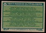 1977 Topps #488   -  Jack Clark / Ruppert Jones / Lee Mazzilli / Dan Thomas Rookie Outfielders Back Thumbnail