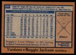 1978 Topps #200  Reggie Jackson  Back Thumbnail