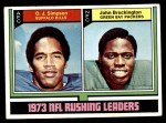 1974 Topps #328   -  O.J. Simpson / John Brockington  Rushing Leaders Front Thumbnail