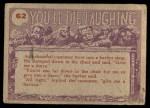 1959 Topps / Bubbles Inc You'll Die Laughing #62   Tsk tsk! Back Thumbnail