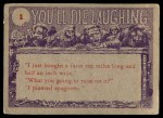 1959 Topps / Bubbles Inc You'll Die Laughing #1   I just came back Back Thumbnail