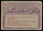 1959 Topps / Bubbles Inc You'll Die Laughing #22   That's right Back Thumbnail