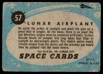 1957 Topps Space Cards #57   Lunar Airplant  Back Thumbnail
