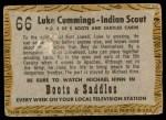 1958 Topps TV Westerns #66   Luke Cummings - Indian Scout  Back Thumbnail