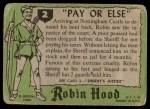 1957 Topps Robin Hood #2   Pay Or Else Back Thumbnail