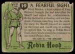1957 Topps Robin Hood #19   Fearful Sight Back Thumbnail