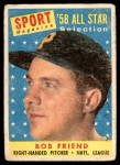 1958 Topps #492   -  Bob Friend All-Star Front Thumbnail