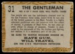 1958 Topps TV Westerns #31   The Gentleman  Back Thumbnail